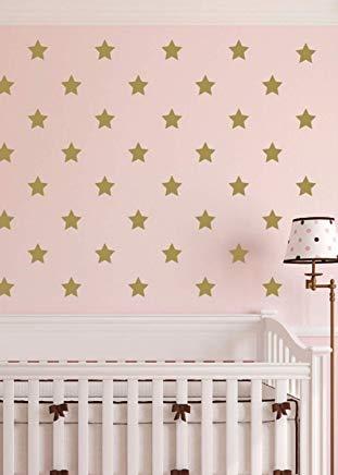 Star Polka Dot Nursery Toddler Room Geometric Pattern Gold Confetti Twinkle Starburst Poka Dot Decal Gr3005 Wall Art Decal Sticker for Living Room Bedroom Kitchen Home Decor (Dot Poka)