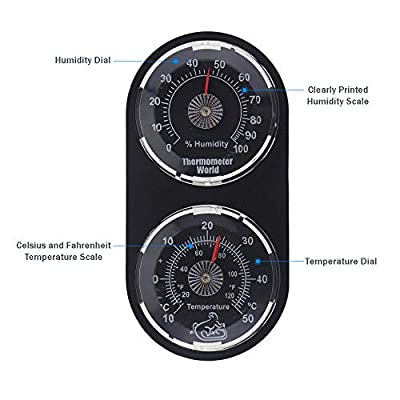 Vivarium Thermometer Hygrometer - Monitor Temperature and Humidity in Reptile Tank Vivarium by Thermometer World