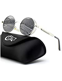 CGID E72 Retro Steampunk Style Unisex Inspired Round Metal Circle Polarized Sunglasses for Men and Women