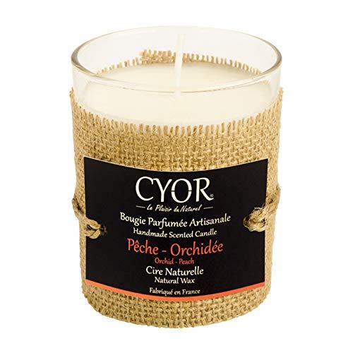 Bougie Parfumée PÊCHE-ORCHIDÉE 130g - 100% Naturelle - Fabriquée à la Main en France - CYOR