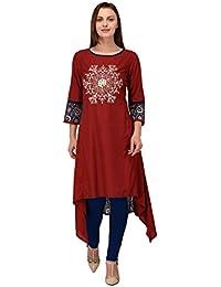 [Sponsored]vaikunth Fabrics Women's Rayon Maroon New Style Low Price Party Wear Kurtis/Kurtas For Women