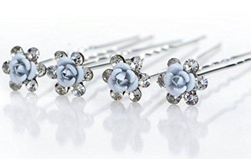 Accessoires cheveux coiffure mariage 1 lot de 4 épingles à chignon fleurs bleues pâles à strass
