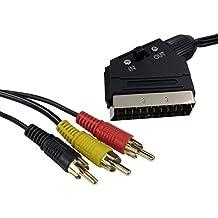 Cable adaptador RCA de plomo compuesto de euroconector a 3 cables fono, 1,5m
