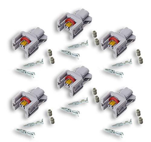 4 Connecteur injecteur diesel- compatible injecteurs Delphi gris - 2 broches