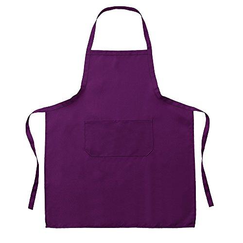 Sallyohno Schürze Einfarbig Wasserdicht und ölbeständig ärmellose Kochschürze mit 2 Taschen (73 x 59 cm, Lila) -