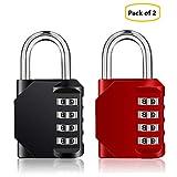 Candado de seguridad con bloqueo de combinación [Paquete de 2] Dial suave de 4 dígitos de IVALLEY (Rojo y negro)