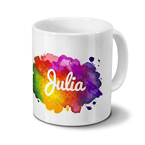 Tasse mit Namen Julia - Motiv Color Paint - Namenstasse, Kaffeebecher, Mug, Becher, Kaffeetasse - Farbe Weiß