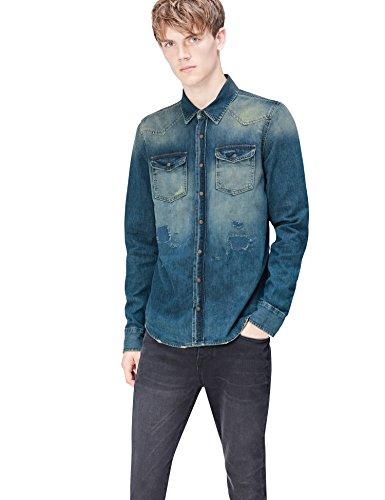 Find camicia di jeans effetto sbiadito uomo, blu (simeto wash), large