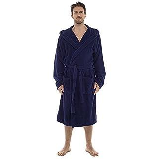 Mens 100% Cotton Towelling Bath Robe Hooded Navy L / XL