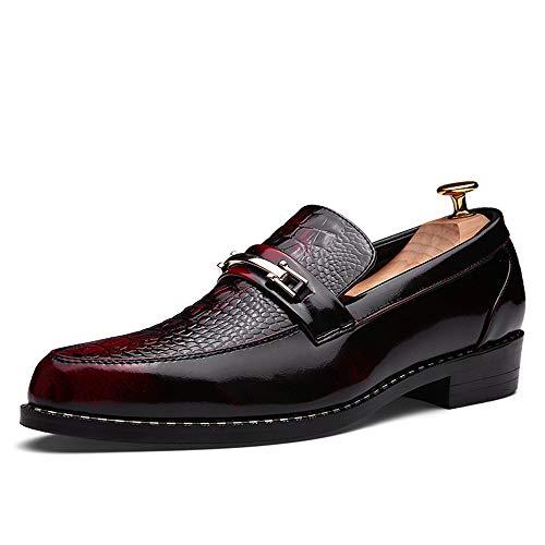 Jingkeke Herren Slip-on Formale Business Oxfords Casual Retro Persönlichkeit Anzug Lackleder Wasserdichte Hochzeit Kleid Schuhe auffällig (Color : Rot, Größe : 41 EU)