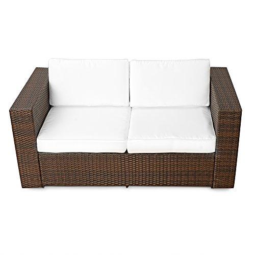 XINRO (2er) Polyrattan Lounge Sofa - Gartenmöbel Couch Bank Rattan - durch andere Polyrattan Lounge Gartenmöbel Elemente erweiterbar - In/Outdoor - handgeflochten - braun - 2