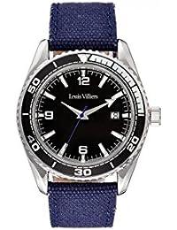 Reloj hombre Louis Villiers reloj 43 mm acero negro y brazalete negro de piel lv1044