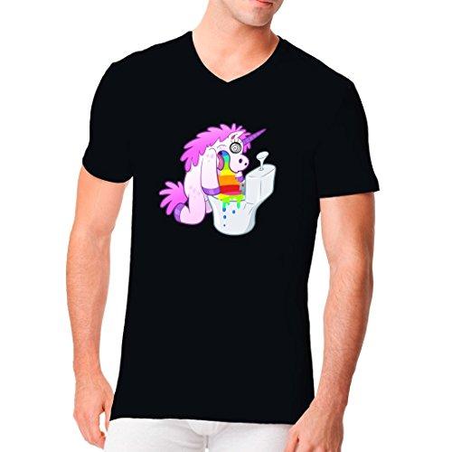 Fun Sprüche Männer V-Neck Shirt - Kotzendes Einhorn by Im-Shirt Schwarz