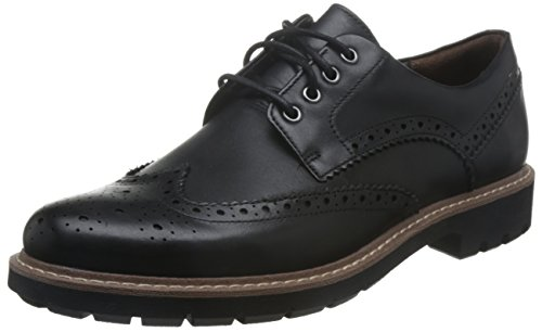 Clarks batcombe wing, scarpe stringate derby uomo, nero (black leather-), 47 eu