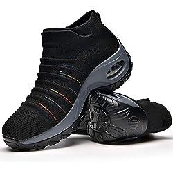 Zapatos Deporte Mujer Zapatillas Deportivas Correr Gimnasio Casual Zapatos para Caminar Mesh Running Transpirable Aumentar Más Altos Sneakers Black-37