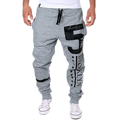 Sannysis Herren Hose Cargo Chino Jeans Sporthosen 5 Print Casual Solid Lose Hosen Jogger Jogginghose Schwarz Weiß Grau Dunkelgrau M~3XL