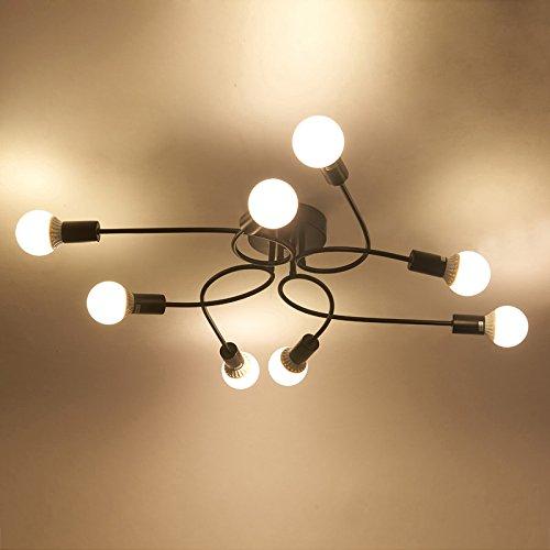 BAYCHEER Industrielampe Deckleuchte Deckenlampe 8 Flammige Lampenfassung Schmiedeeisen Lampe Kronleuchte Pendellampe (8 lampen-1) - 2