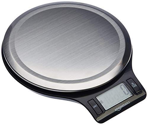 AmazonBasics - Bilancia digitale da cucina con display LCD, in acciaio inox, priva di bisfenolo A (pile incluse)