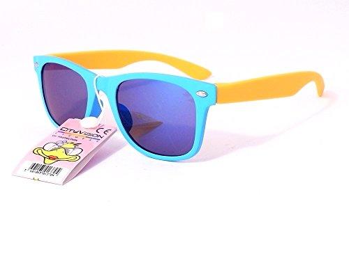 Sonnenbrille 4567jahren Gläser Runde Gläser rund Polarisiert Jungen Mädchen 72173VH monture bleu branches jaune verres bleu largeur:120mm hauteur:40mm