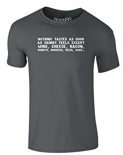 Brand88 - Skinny Feels, Erwachsene Gedrucktes T-Shirt Dunkelgrau/Weiß