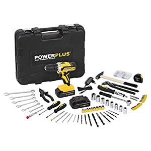 Powerplus POWX00825 Akku-Bohrschrauber mit 2 Lithium-Batterien, 20 V, 1500 mAh, 35 Nm, LED-Licht, 2…