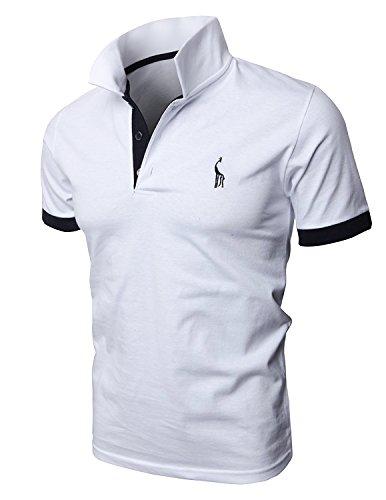 Mentrend-Leisure Poloshirts Herren Basic Kurzarm Polohemd, Weiß, M