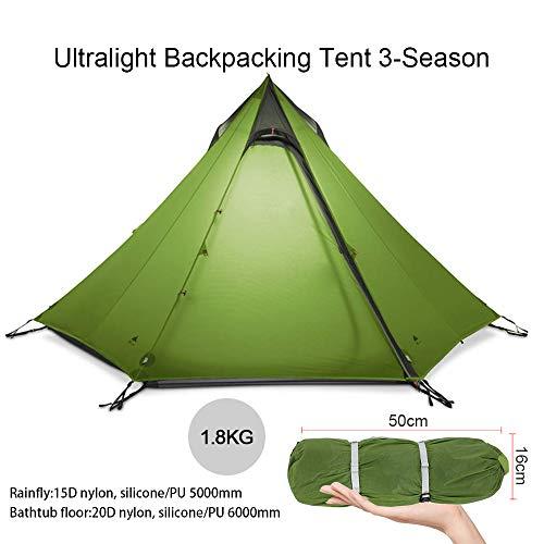 KIKILIVE Ultraleichtes Zelt 3 Season Camping Zelt für 2-3 Personen Outdoor Camping,Wasserdichtes Rucksack-Pyramiden-Zelt,schnell aufgebautes Tipi-Zelt,Kajakfahren,Klettern,Wandern