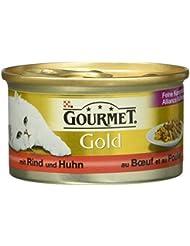 Gourmet Gold Katzenfutter Feine Komposition mit Rind und Huhn, (12 x 85 g)