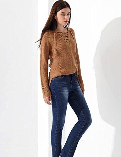 Lonlier Damen Pullover V Ausschnitt Schnürung Einfarbig Langarm Gestrickte Pullover Pulli Aprikose