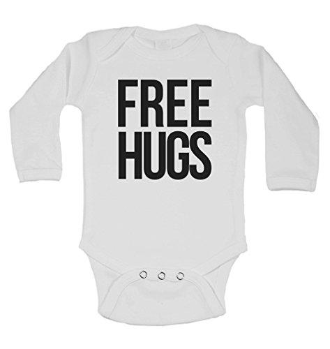 Free Hugs–Personalisierte Lange Ärmel Baby Westen Bodys Baby wächst–Unisex (Jungen, Mädchen)–Weiß–2–3Jahre (Ärmel Free Hugs Lange)