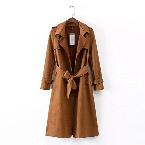 XYLUCKY Frauen Revers mit Gürtel Wildleder-Trenchcoat Mantel Jacken & Mäntel Brown m Double Breasted Vintage Trenchcoat