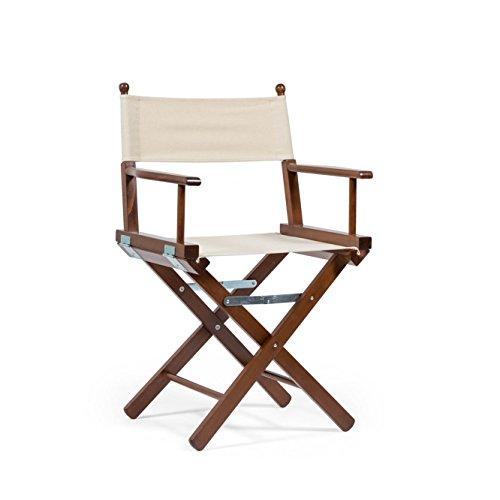 Telami Outlet Chaise du Directeur Pliant avec Bois de Hêtre teinté en teck - Made in Italy - 52 x 46 x 91,5 cm - Couleur écru en Coton naturel