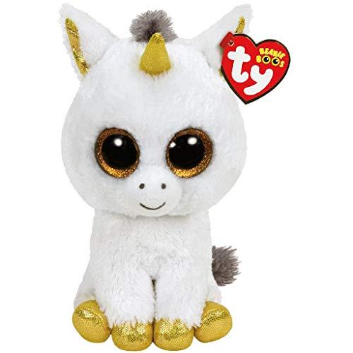 "Beanie Boo Unicorn - Pegasus - White/Gold - 24cm 9"""