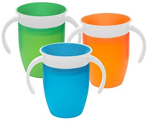 Munchkin Miracle 360 Degree 7 Ounce Spoutless Trainer Cup, 3 Pack, Green/Orange/Blue