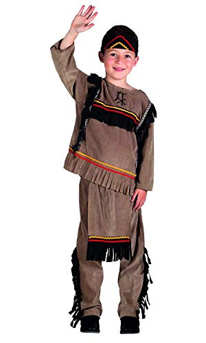 Nerd Clear Indianer Kostüm für Jungen & Mädchen | 3-teilig: Oberteil, Hose, Stirnband | ideal für Karneval & Fasching: Größe: 10-12 Jahre (Pocahantas Kostüm)