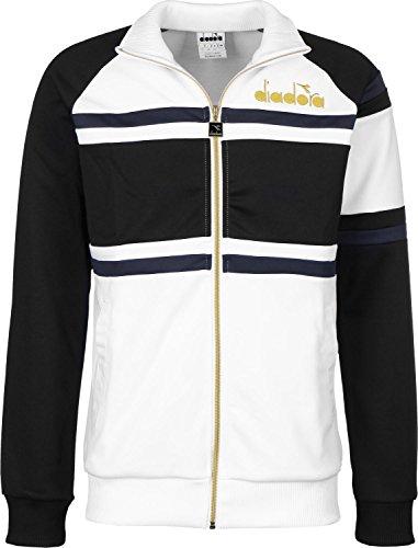 Diadora Sport Herren 502171211 80S Jacke, Bianco Ottico/Nero, Large (Italien World-cup-champions)