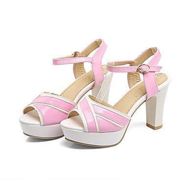 LvYuan Sandali-Ufficio e lavoro Formale Serata e festa-Club Shoes-Quadrato-PU (Poliuretano)-Nero Blu Rosa Bianco Pink