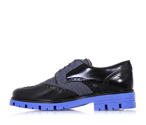 ARMANI - Inglesina stringata nera e blu in pelle lucida e tessuto denim 5a7702acb4a