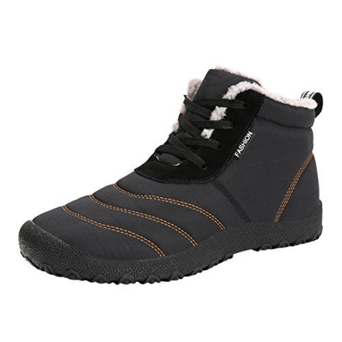 Oyedens Herren Damen Winterschuhe Warm Gefüttert Winter Stiefel Kurz Schnür Boots Schneestiefel Outdoor Freizeit Schuhe (39, Schwarz)