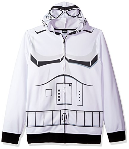 Star Wars Herren Storm Trooper Character Zip Front Hoodie Kapuzenpulli, weiß, Klein Trooper Zip