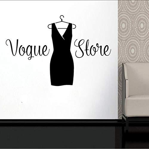 Ponana Vogue Shop Schwarz Kleid Zeichen Wand Vinyl Aufkleber Mode Damen Kleidung Boutique Fenster Aufkleber Wandbilder Diy 62X42 Cm
