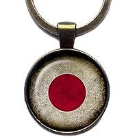 Japan Japanese Japanisch Flagge Keychain Bronze Schlüsselanhänger