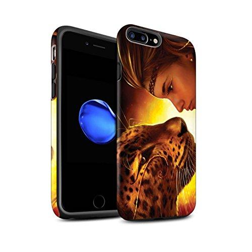 Officiel Elena Dudina Coque / Matte Robuste Antichoc Etui pour Apple iPhone 7 Plus / Cleopatra/Serpent Doré Design / Les Animaux Collection Face à Face/Tigre
