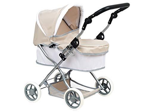 Ciao Ciccio  Verstellbare Rückenlehne Rollstuhl aus Metall, 47x17x60 h 72, Weiß/Beige