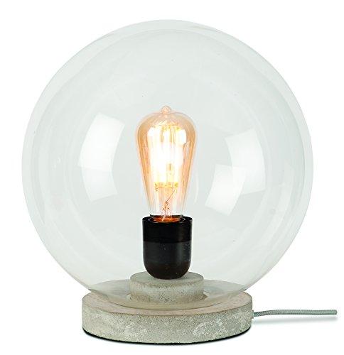 It's about RoMi WARSAW/T30/LG WARSAW Lampe à poser, Verre, E27, 60 W, Gris, 32 x 32 x 32 cm