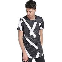 El comercio exterior de los hombres T-shirt Men's 3D Rayas geométricas Hip Hop con cuello redondo manga corta High Street,XXL