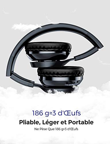 【Versione Aggiornata】Mpow Thor Cuffie Bluetooth, Cuffie Senza Fili Con Hi-Fi Audio, Cuffie Leggere Con Padiglione Morbido, Cuffie Con Microfono, Autonomia 8 Ore, Cuffie Per Cellullari/TV/PC-Blu