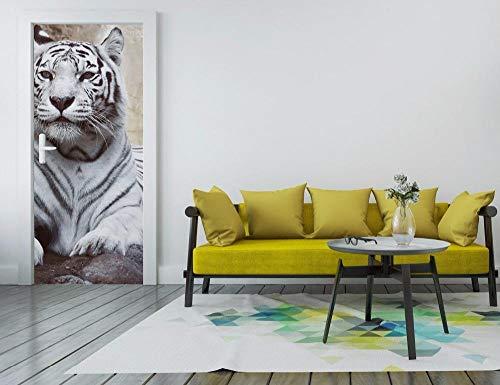 Türaufkleber 3D White Tiger Art Tür-Wandbild Tapete Wandbild Drucktattoo Wandtattoo Fototapete Selbstklebend 77Cmx200Cm (White Tiger Wandtattoo)