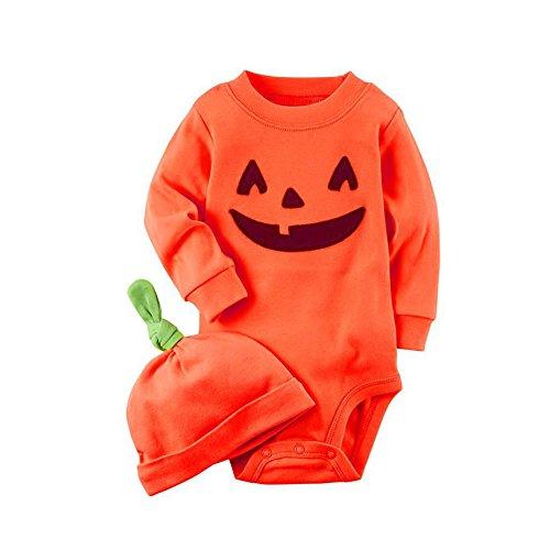 Baby Kürbis Kostüme Halloween (Baby-Kürbis-Overall-Ausdruck-Spielanzug-lange Ärmel-Oberseiten und orange Hut für Säugling Neugeborenes durch)