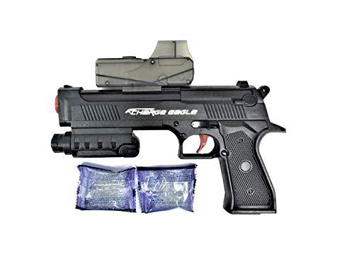 """Pistola """" Desert Eagle Pistol"""", dispara Bolas de Agua. Con luz. Incluye 50 Bolas de Agua y 2 Dardos Blandos. Medidas de la Pistola: 24x17x4 cms. aprox.. Pilas incluídas."""